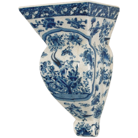 Oriental Blue and White Pattern - Luxury Hand Painted Porcelain - 12 Inch Shelf, Bracket, Sconce