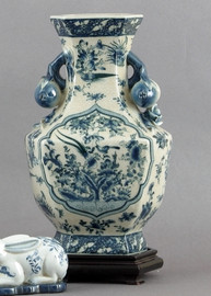 Oriental Blue and White Pattern - Luxury Hand Painted Porcelain - 15 Inch Vase