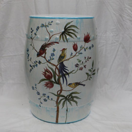 An Artisan Essence, Handmade, Handpainted Tree Branches with Flowers and Birds Garden Seat, Stool, Accent Table 7129.23190 - Table | Seat | Stool