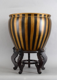 Black and Gold Vertical Stripes - Luxury Hand Painted Porcelain - 18 Inch Fish Bowl, Planter