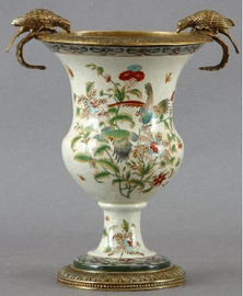Tropical Haven Pattern - Luxury Hand Painted Porcelain and Gilt Bronze Ormolu - 14 Inch Planter, Urn