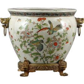 Tropical Haven Pattern - Luxury Hand Painted Porcelain and Gilt Bronze Ormolu - 14 Inch Fish Bowl Planter