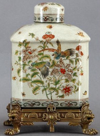 Tropical Haven Pattern - Luxury Hand Painted Porcelain and Gilt Bronze Ormolu - 13 Inch Covered Box