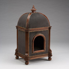 #Versailles Louis XVI French Neo Classical Period 37 Inch Petit Palace for the Pampered Dog or Cat - Upholstered and Wood Tone Luxurie Furniture Finish