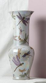 Finely Finished Porcelain - 23 Inch Table Top or Mantle Vase - Glazed Iridescent Finish