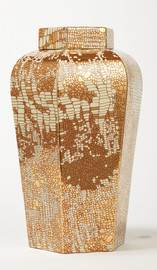 Finely Finished Porcelain - 16 Inch Hexagonal Table Top or Mantle Vase - Metallic Gold Accents