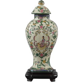 Climbing Rose Pattern - Luxury Hand Painted Porcelain - 12 Inch Covered Jar with Wooden Stand