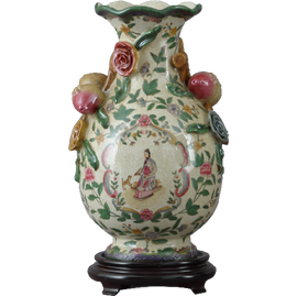 Climbing Rose Pattern - Luxury Hand Painted Porcelain - 13 Inch Vase with Wooden Stand