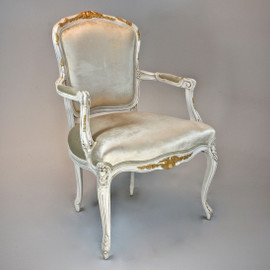 A Versailles Louis XV French Rococo Period - 38 Inch Handcrafted Reproduction Dining | Accent Arm Chair | Fauteuil - Velvet Upholstery - Paint and Gilt Luxurie Furniture Finish