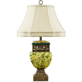 Wildflower Pattern - Luxury Hand Painted Porcelain and Gilt Bronze Ormolu - 26 Inch Lamp