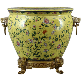 Wildflower Pattern - Luxury Hand Painted Porcelain and Gilt Bronze Ormolu - 14 Inch Fish Bowl Planter