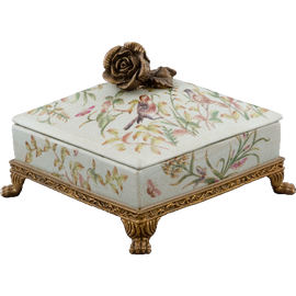 Green Gardens Pattern - Luxury Hand Painted Porcelain and Gilt Bronze Ormolu - 8.5 Inch Decorative Box