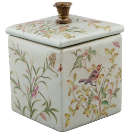 Green Gardens Pattern - Luxury Hand Painted Porcelain - 7.75 Inch Decorative Box