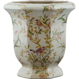 Green Gardens Pattern - Luxury Hand Painted Porcelain - 10 Inch Planter