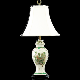 Feathered Friends Pattern - Luxury Hand Painted Porcelain - 27 Inch Lamp