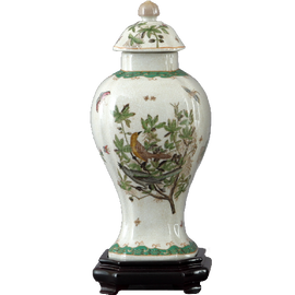 Feathered Friends Pattern - Luxury Hand Painted Porcelain - 13 Inch Covered Jar