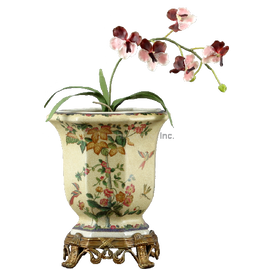 Spring Vine Pattern - Luxury Hand Painted Porcelain and Gilt Bronze Ormolu - 12 Inch Planter