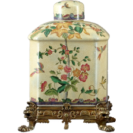Spring Vine Pattern - Luxury Hand Painted Porcelain and Gilt Bronze Ormolu - 13 Inch Covered Box