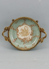 Celadon Serenity Pattern - Luxury Hand Painted Porcelain and Gilt Bronze Ormolu - 6 Inch Coaster - Set of Two