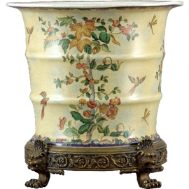 Spring Vine Pattern - Luxury Hand Painted Porcelain and Gilt Bronze Ormolu - 15 Inch Planter