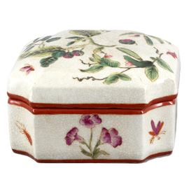 Wild Berries Pattern - Luxury Hand Painted Porcelain - 5 Inch Decorative Box