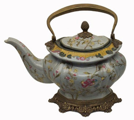 Simplicity - Luxury Hand Painted Porcelain and Gilt Bronze Ormolu - 10 Inch Teapot