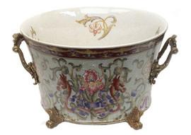 Iris Garden Pattern - Luxury Hand Painted Porcelain and Gilt Bronze Ormolu - 10.5 Inch Planter