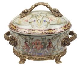 Iris Garden Pattern - Luxury Hand Painted Porcelain and Gilt Bronze Ormolu - 9 Inch Decorative Box