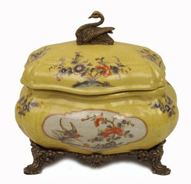 Cigno Sereno - Luxury Hand Painted Porcelain and Gilt Bronze Ormolu - 6.5 Inch Decorative Box