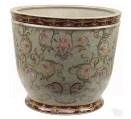 Iris Garden Pattern - Luxury Hand Painted Porcelain - 11 Inch Planter