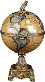 Luxe Life Olde World Map Pattern - Luxury Hand Painted Porcelain and Gilt Bronze Ormolu - 15 Inch Decorative Globe Box