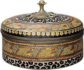 Luxe Life Jungle Pattern - Luxury Hand Painted Porcelain and Gilt Bronze Ormolu - 8 Inch Round Covered Box
