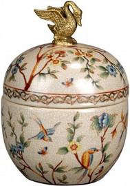 Luxe Life Morning Glory Pattern - Luxury Hand Painted Porcelain and Gilt Bronze Ormolu - 8 Inch Round Decorative Container
