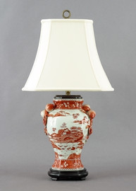 Red and White Pattern - Luxury Hand Painted Porcelain - 29 Inch Lamp