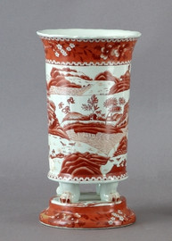 Red and White Pattern - Luxury Hand Painted Porcelain - 12 Inch Planter