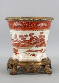 Red and White Pattern - Luxury Hand Painted Porcelain and Gilt Bronze Ormolu - 10 Inch Planter