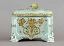 Country Antique Pattern - Luxury Hand Painted Porcelain - 9 Inch Covered Box