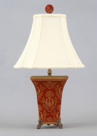 Olde Plantation Pattern - Luxury Hand Painted Porcelain and Gilt Bronze Ormolu - 24 Inch Lamp