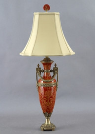 Olde Plantation Pattern - Luxury Hand Painted Porcelain and Gilt Bronze Ormolu - 30 Inch Lamp