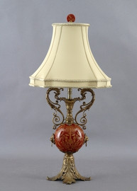 Olde Plantation Pattern - Luxury Hand Painted Porcelain and Gilt Bronze Ormolu - 30.5 Inch Lamp
