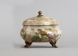 Tropical Paradise Pattern - Luxury Hand Painted Porcelain and Gilt Bronze Ormolu - 6.5 Inch Decorative Box