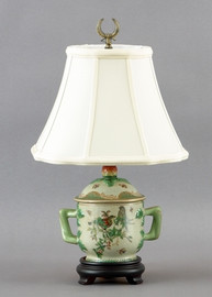 Paradise Garden Pattern - Luxury Hand Painted Porcelain - 15 Inch Lamp