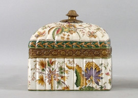 Burst of Spring Pattern - Luxury Hand Painted Porcelain and Gilt Bronze Ormolu - 8 Inch Decorative Box