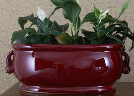 Oxblood Red - Luxury Hand Painted Porcelain - 18.25 Inch Footbath, Planter