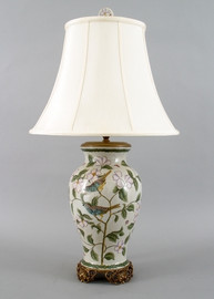 Songbirds - Luxury Hand Painted Porcelain and Gilt Bronze Ormolu - 30 Inch Lamp