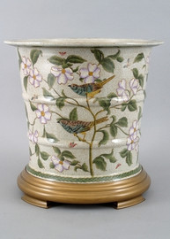 Songbirds - Luxury Hand Painted Porcelain - 15 Inch Planter with Wooden Stand