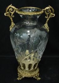 Luxe Life - Hand Cut Italian Crystal and Gilt Brass Ormolu 10 inch Vase