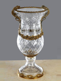 Luxe Life - Hand Cut Italian Crystal and Gilt Brass Ormolu 14 inch Vase