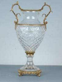 Luxe Life - Hand Cut Italian Crystal and Gilt Brass Ormolu 16.75 inch Vase