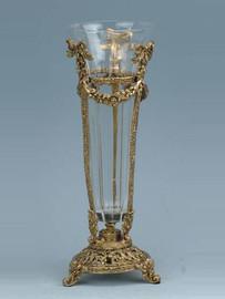 Luxe Life - Hand Cut Italian Crystal and Gilt Brass Ormolu 11 inch Vase